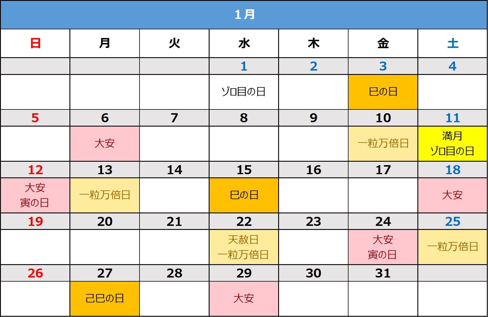2020年1月】2020年1月の開運日や吉日カレンダー|大安、巳の日
